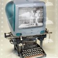 Imac and video typewriter illustration using photography
