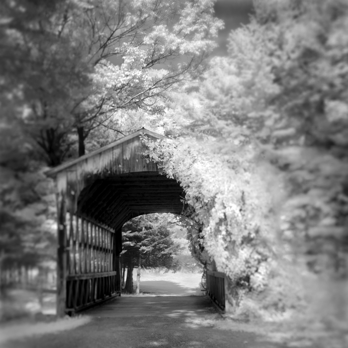 Infrared Black and White Landscape photograph Barn Vermont