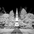 Infrared Black and White Landscape photography church Iowa