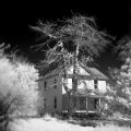 Infrared Black and White Landscape photography Barn Iowa